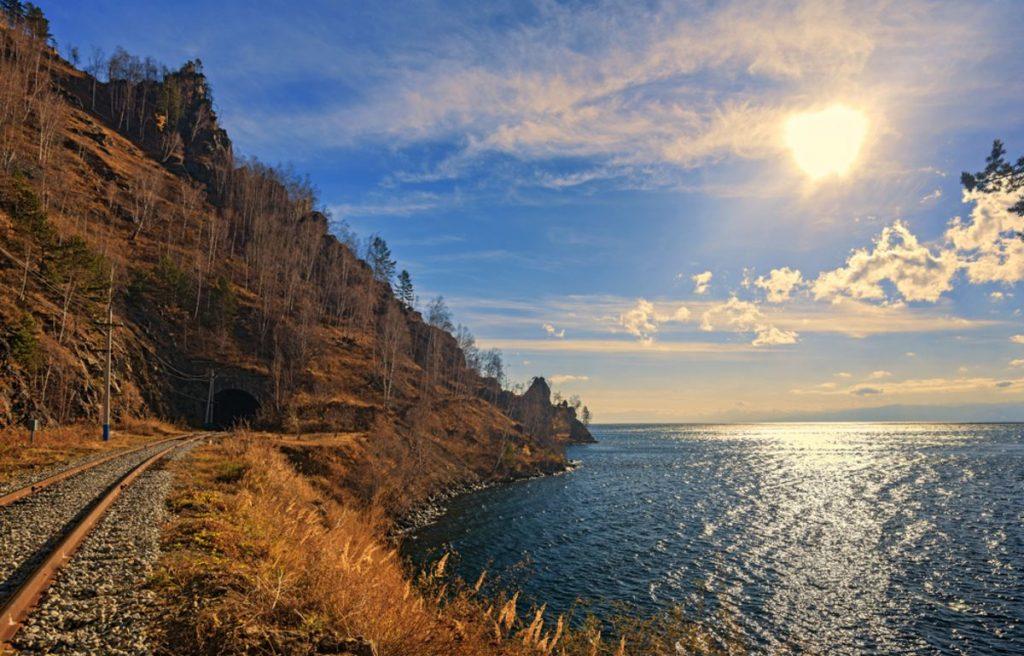 Autumn Circum-Baikal Railway on south lake Baikal