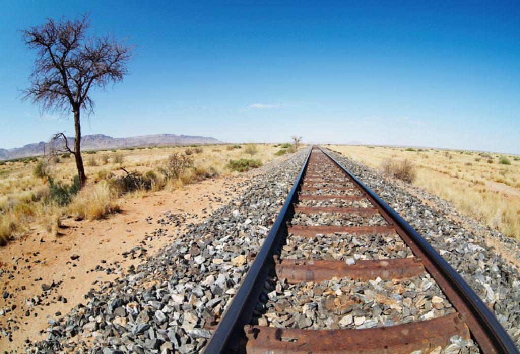 Railway line in namibian desert