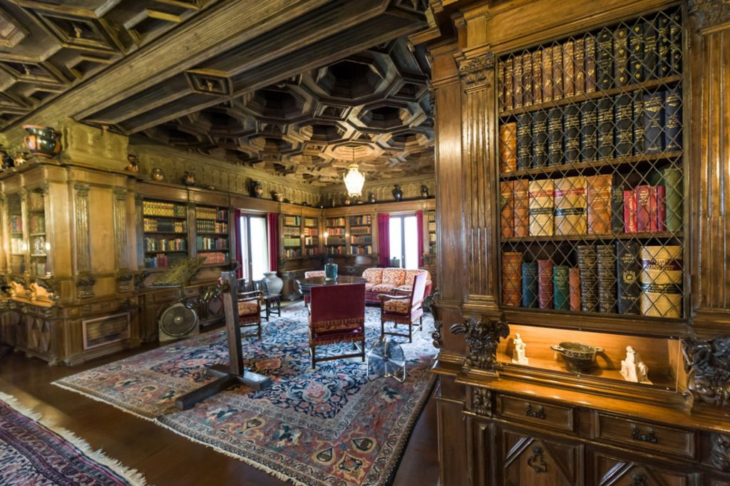 Study room with book shelves at Hearst Castle, which is a National and California Historical Landmark opened for public tours