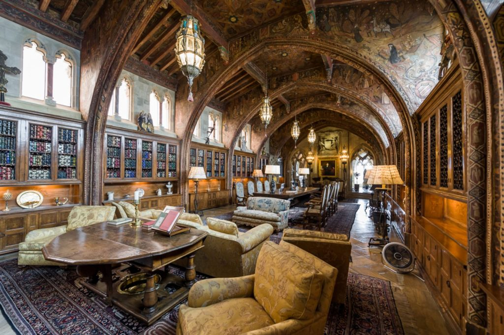 Grand spacious living and dining room at Hearst Castle, which is a National and California Historical Landmark opened for public tours
