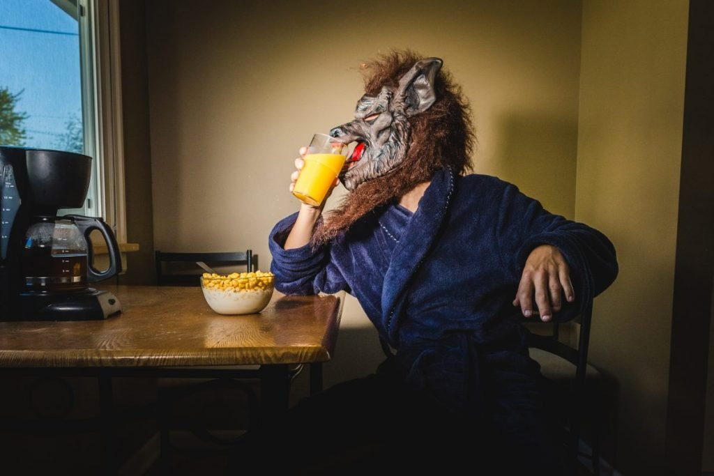 werewolf eating breakfast