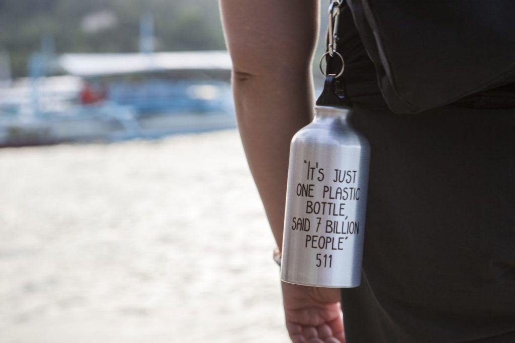 reusable bottle with text