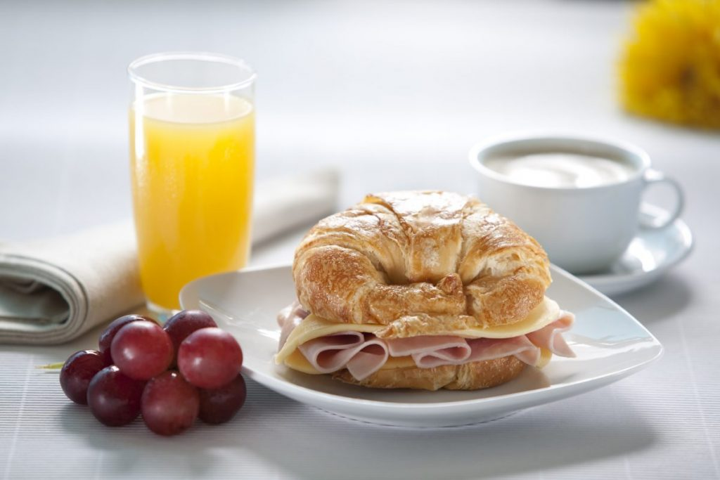 croissant ham cheese breakfast brunch