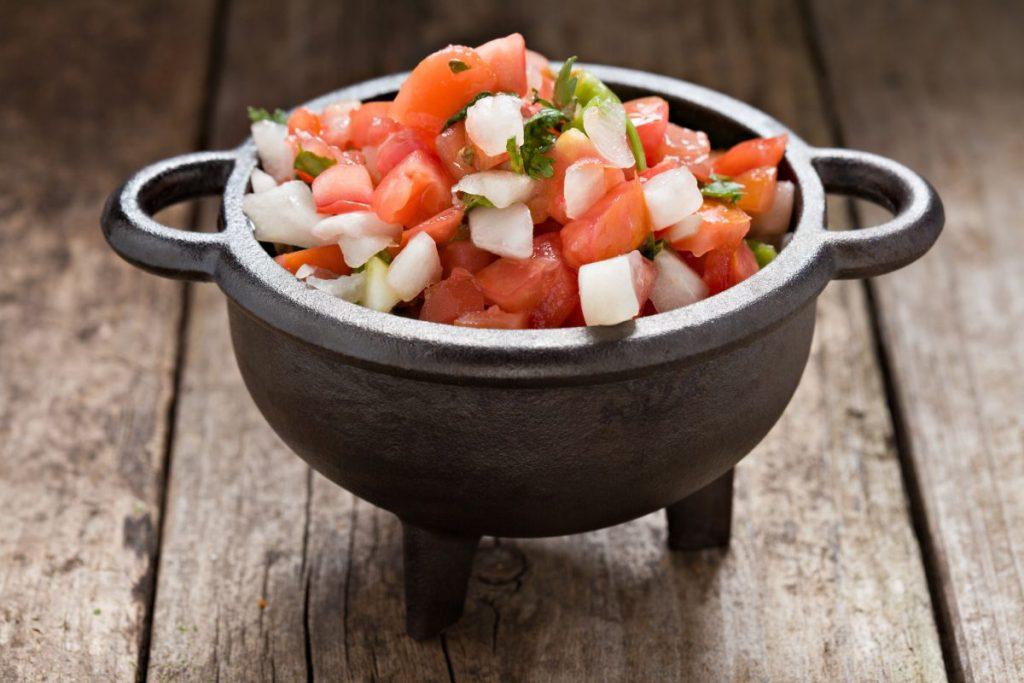 cast-iron, tomatoes, onion, cilantro, pepper