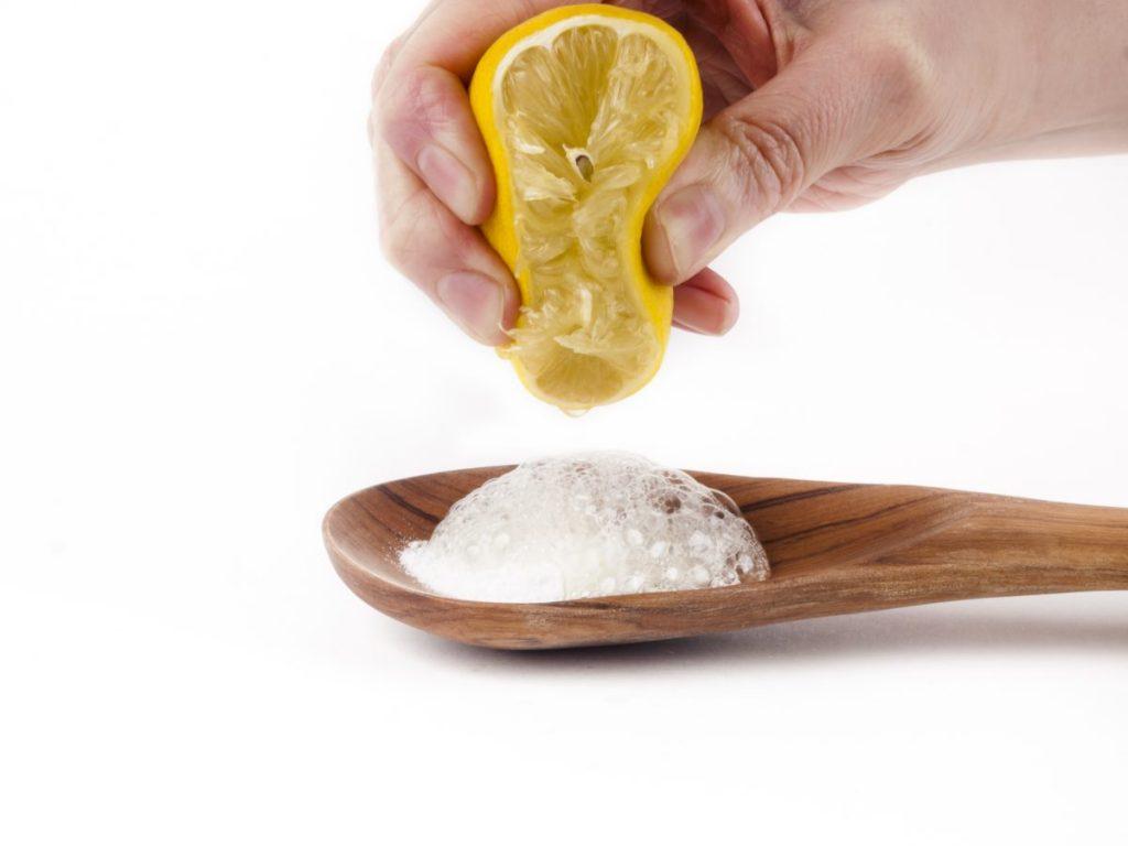 lemon juice, baking soda, weeds