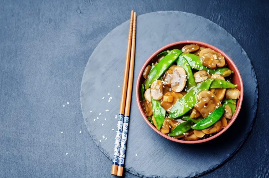 stir fry with chopsticks