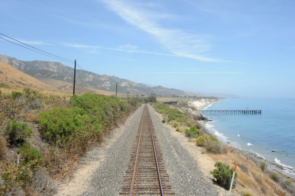 Part of the route of the Amtrak Coast Starlight passenger train, looking east along the Californian coast in the area of the Gaviota State Park.