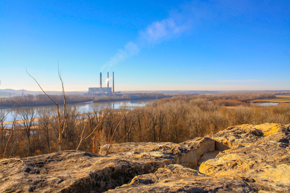 Rocky Bluff over Missouri River at Klondike Park in Weldon Springs Missouri