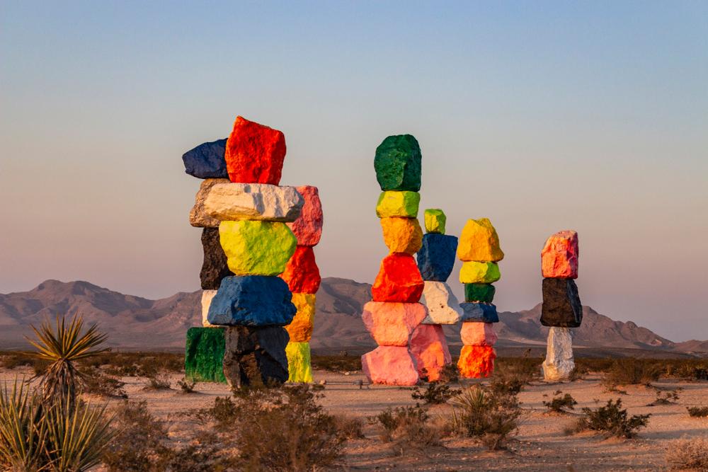7 Magic Mountains, near Las Vegas Nevada, abstract art/ sculptures standing tall in the desert