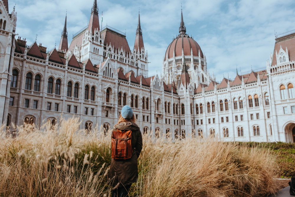 European girl from the back at Budapest Parliament in Hungarian capital.