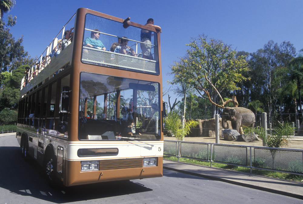 Safari Bus and tourists at San Diego Zoo, CA