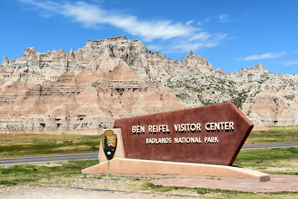Ben Reifel Visitor Center sign. The facility is the parks main visitor center