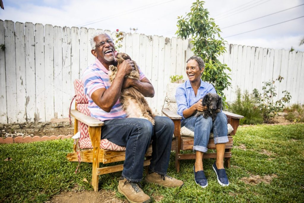 senior couple play with dogs