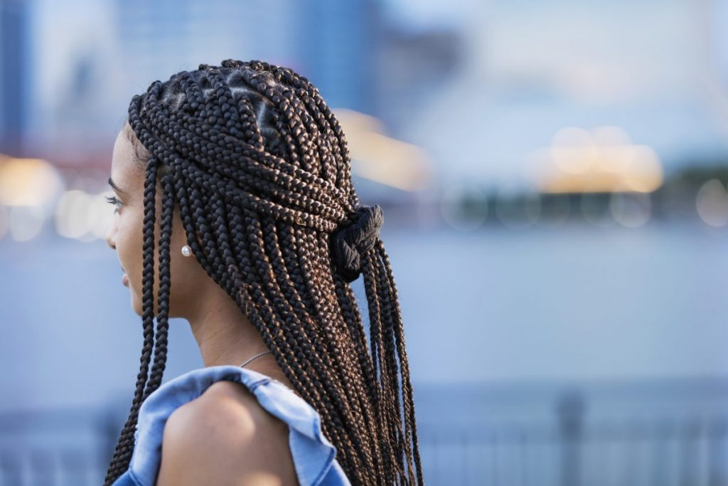 black woman box braids