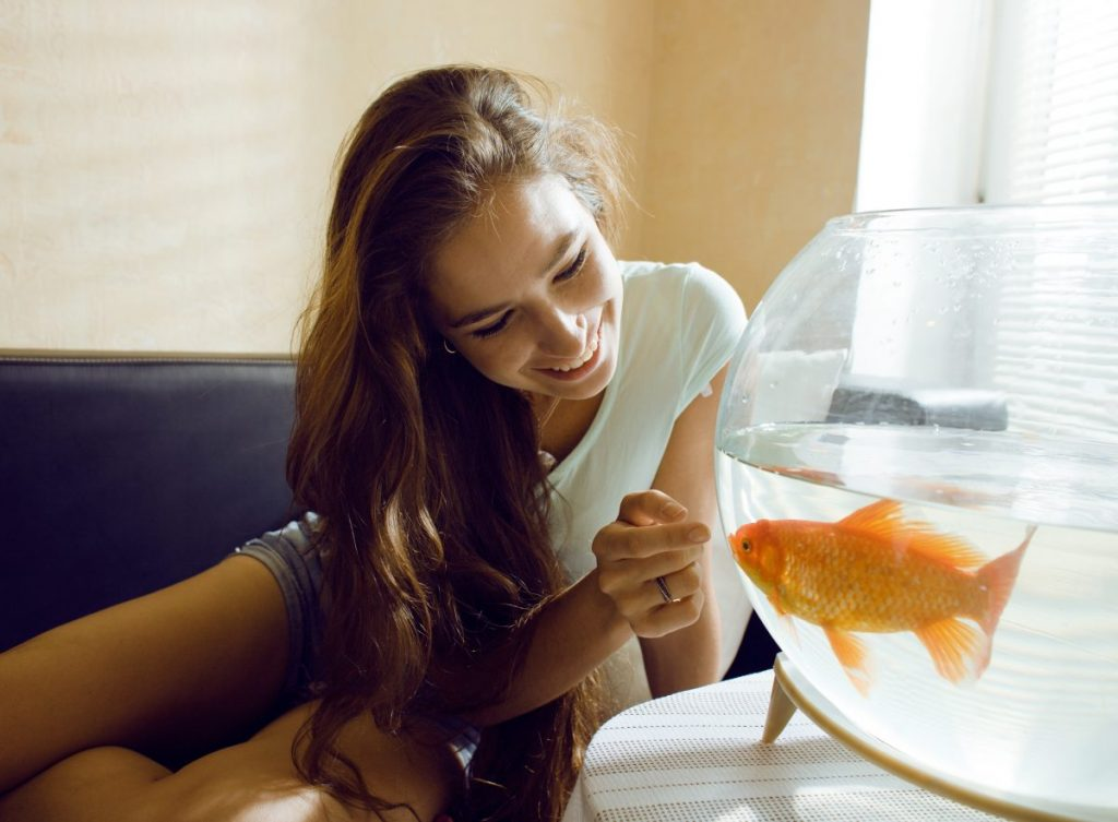 teen girl goldfish