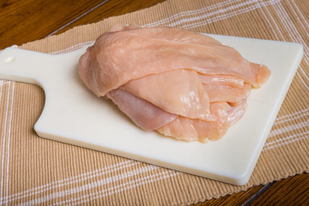 raw chicken breasts thick