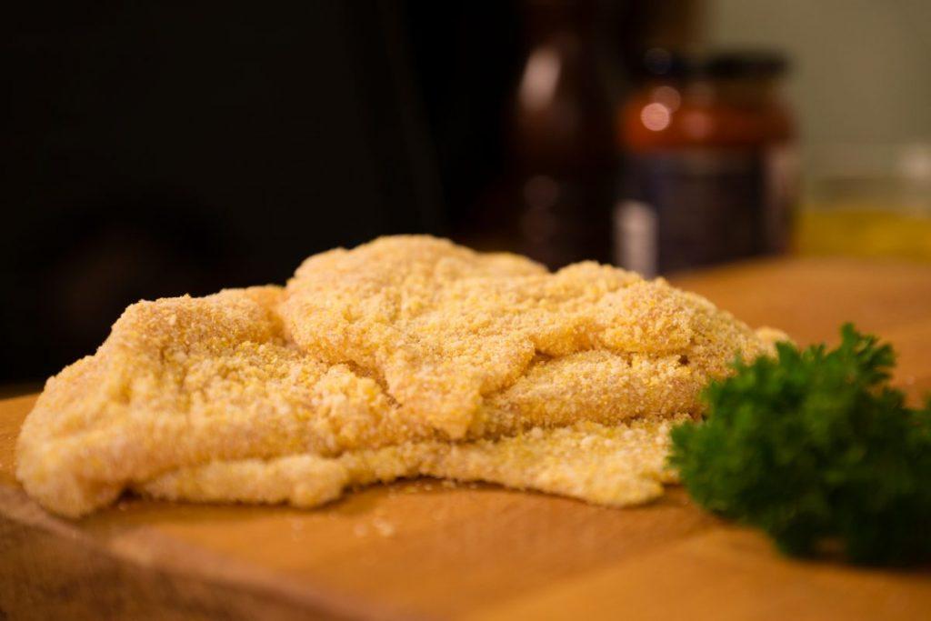 breaded chicken frying