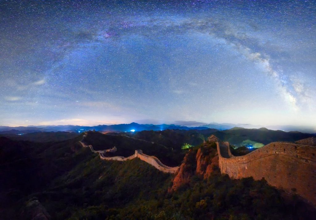 The great wall under the beautiful Milky Way Galaxy and countless stars on a clear summer starry night, as seen from china asia's Northern hemisphere.