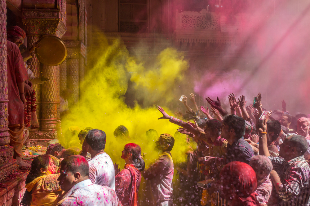 Holi celebration in the Hindu Banke Bihare temple in Vrindavan, Uttar Pradesh, India