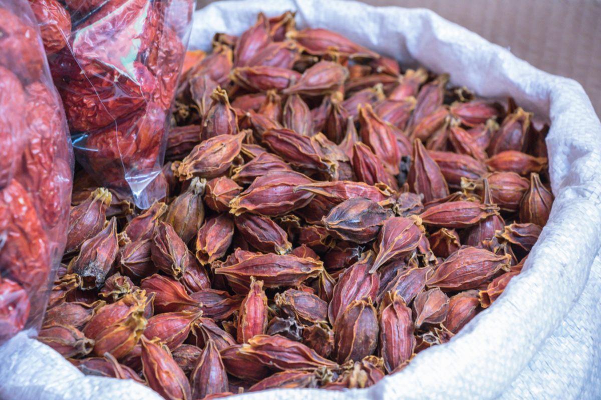 Dried gardenia fruit on sale in market