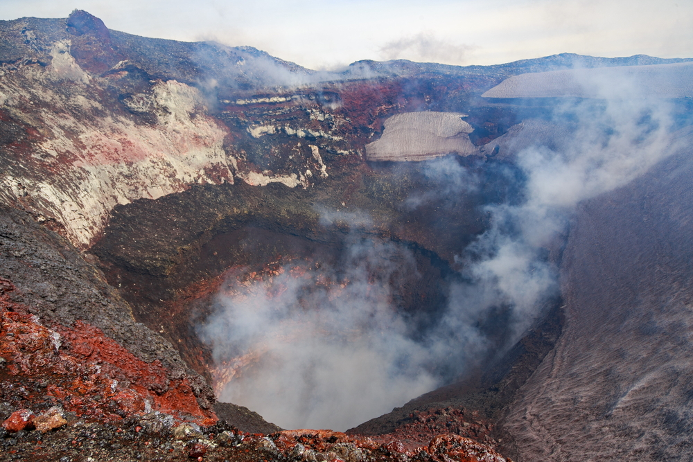 The crater of the volcano Villarrica.