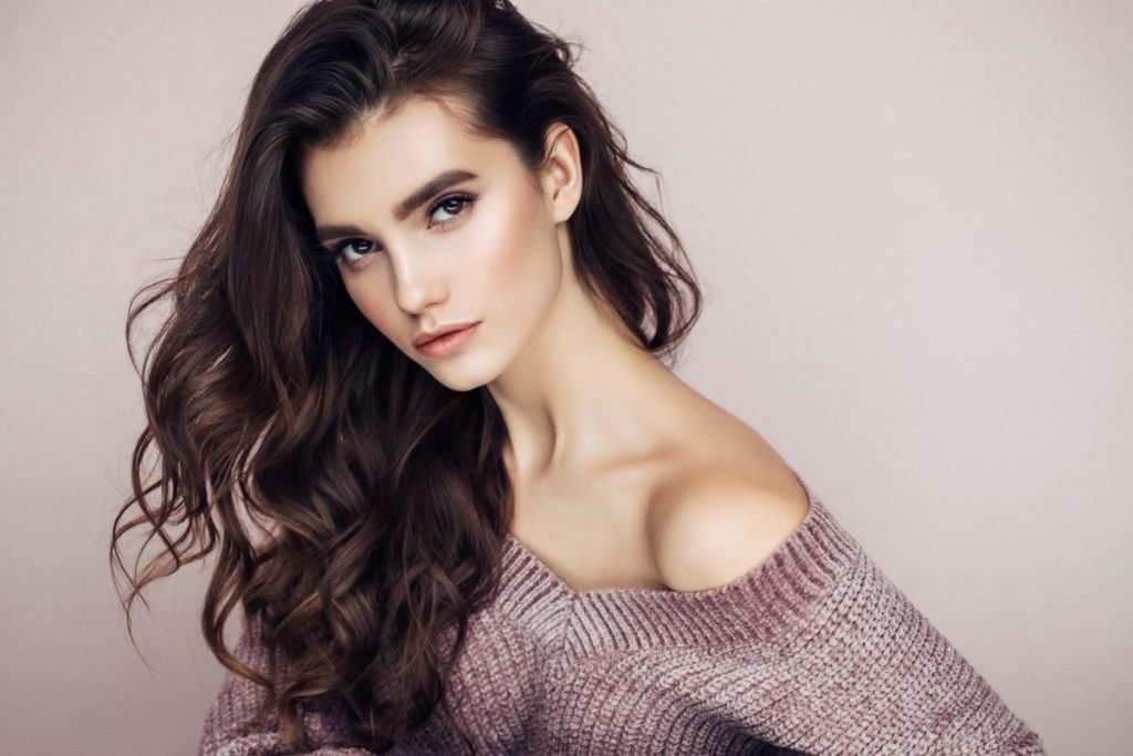 Woman with dark brown hair