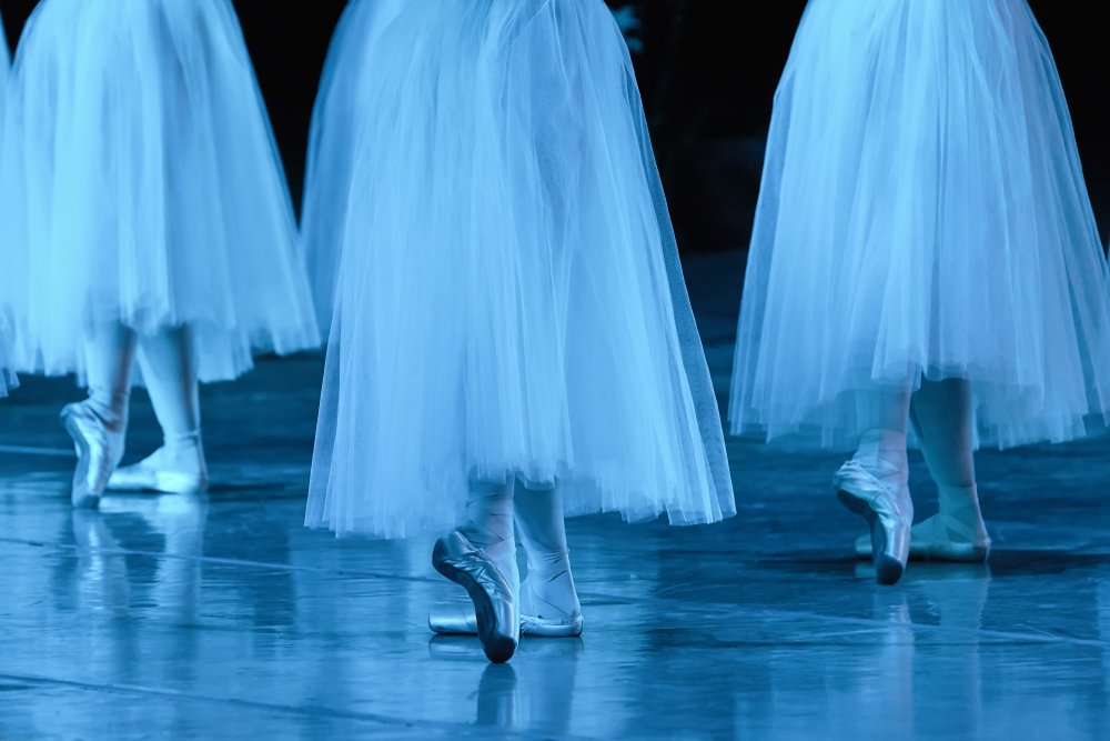 Group of ballerinas in white Chopin tutu synchronized dancing on stage.