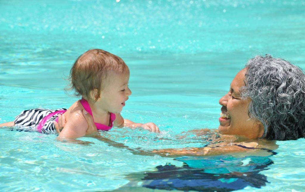 swim, water, family, grandchildren