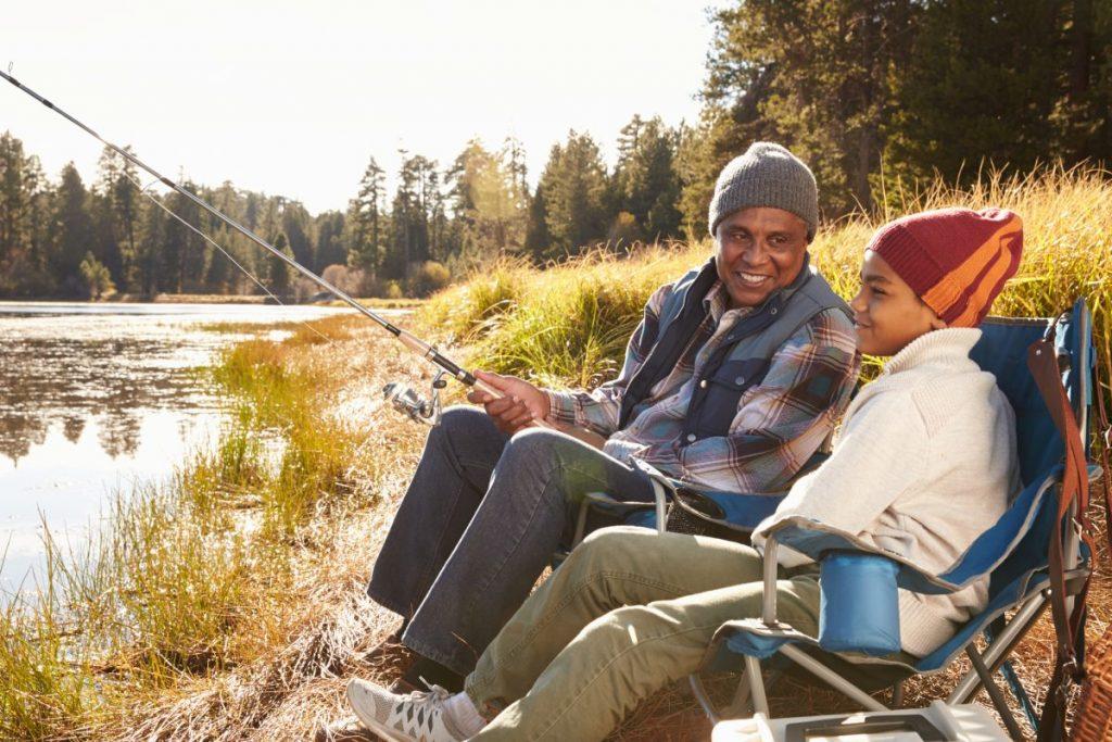 fishing, grandchildren, sea, water, fish