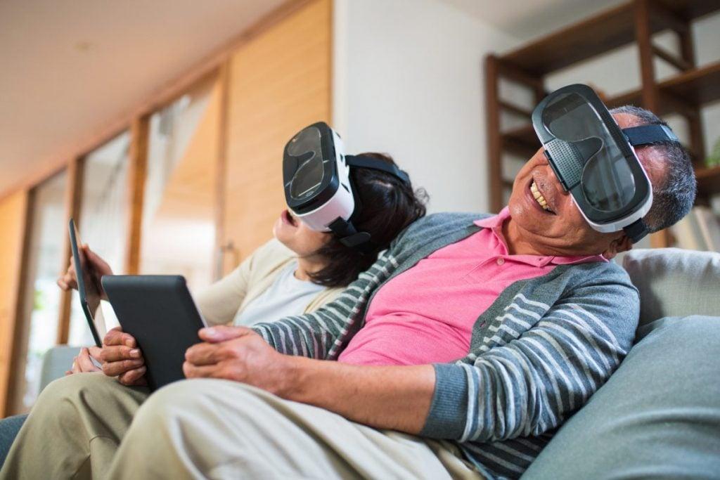 older couple virtual reality headsets