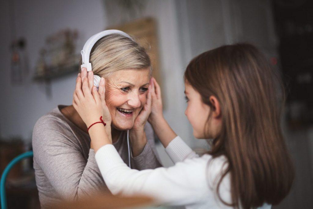music, listen, children, grandparents, songs
