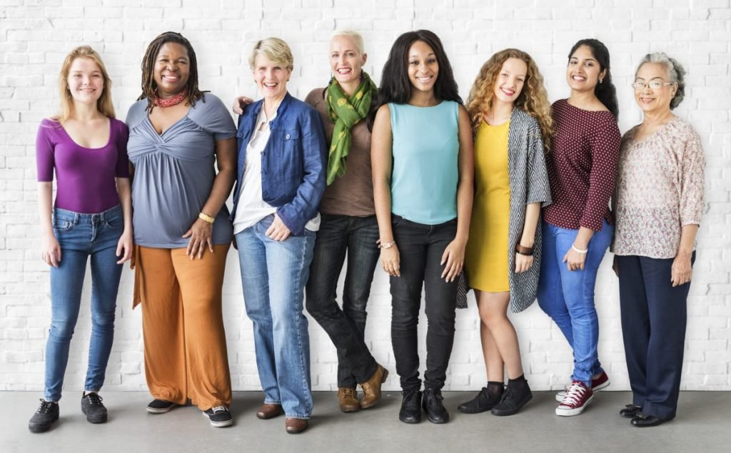 group of diverse women all ages