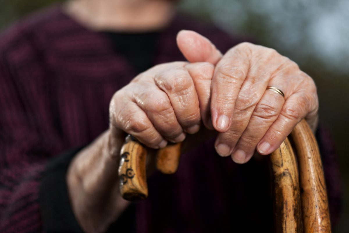 Person's hands holding a walking stick
