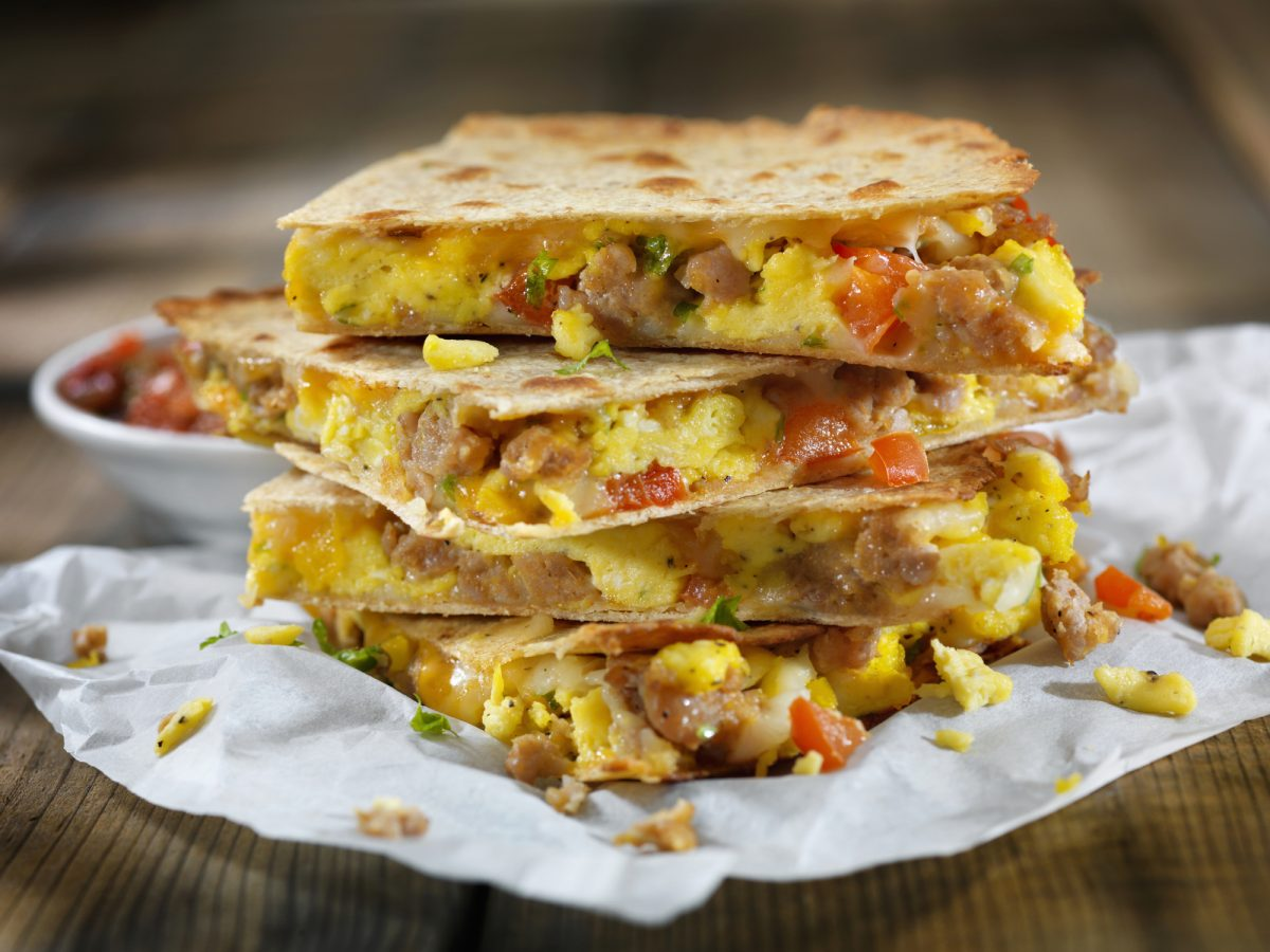 Breakfast quesadillas are good on the go
