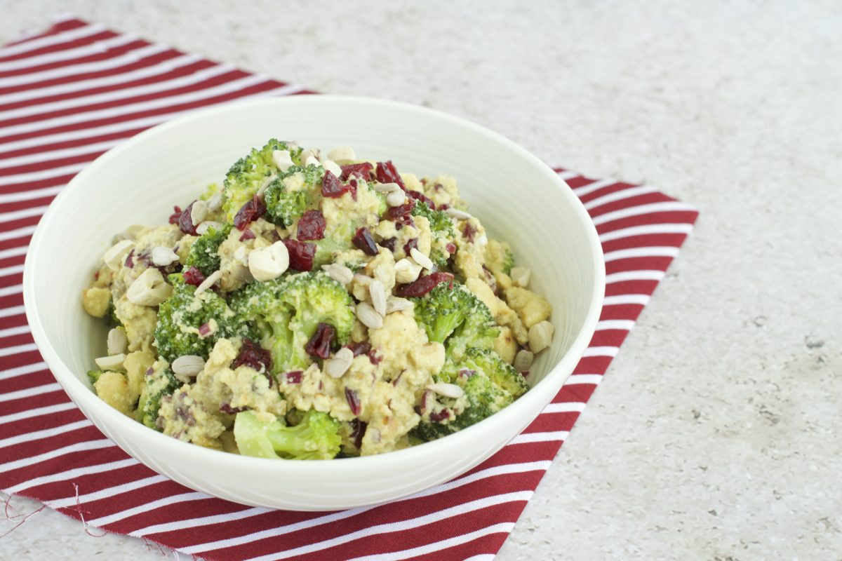 Broccoli slaw salad is easily adaptable