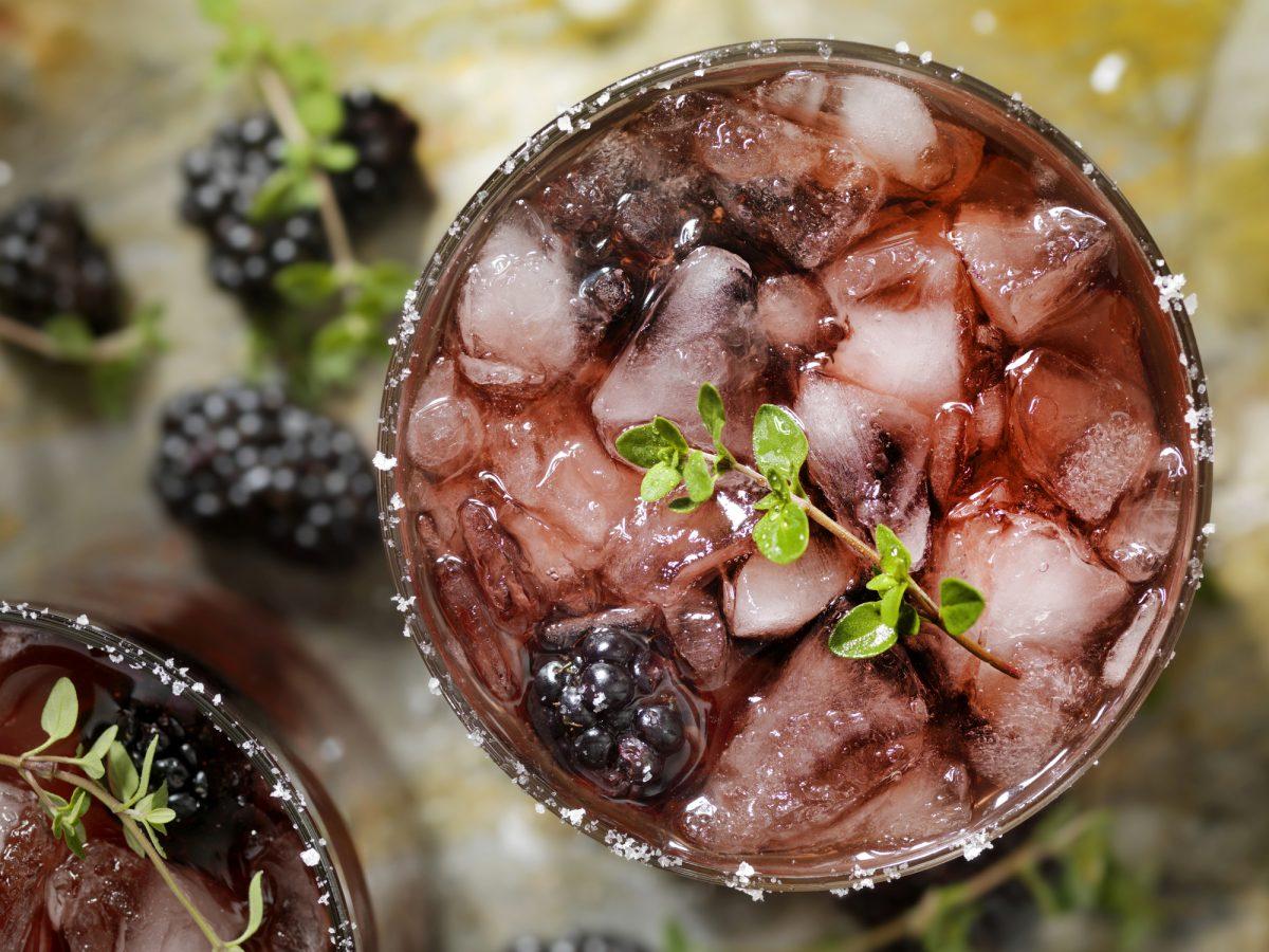 Blackberries garnish this whiskey favorite.