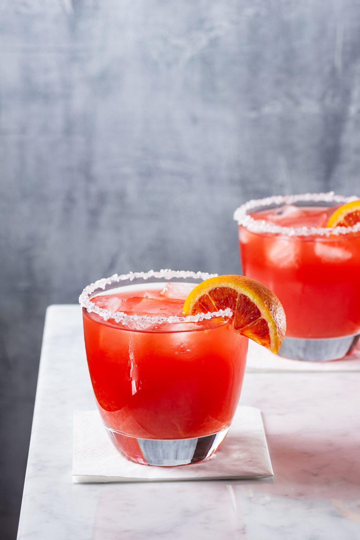 Blood orange cocktail with sugared rim.