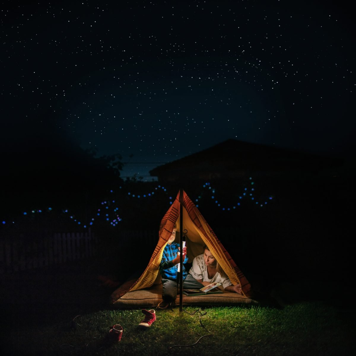 Back yard camping tent stars fire vacation
