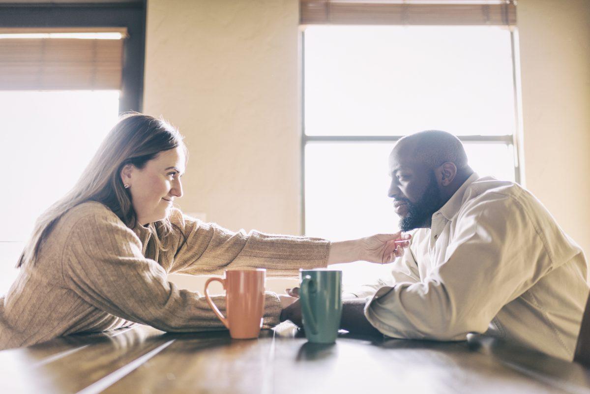 empathetic woman listening to man