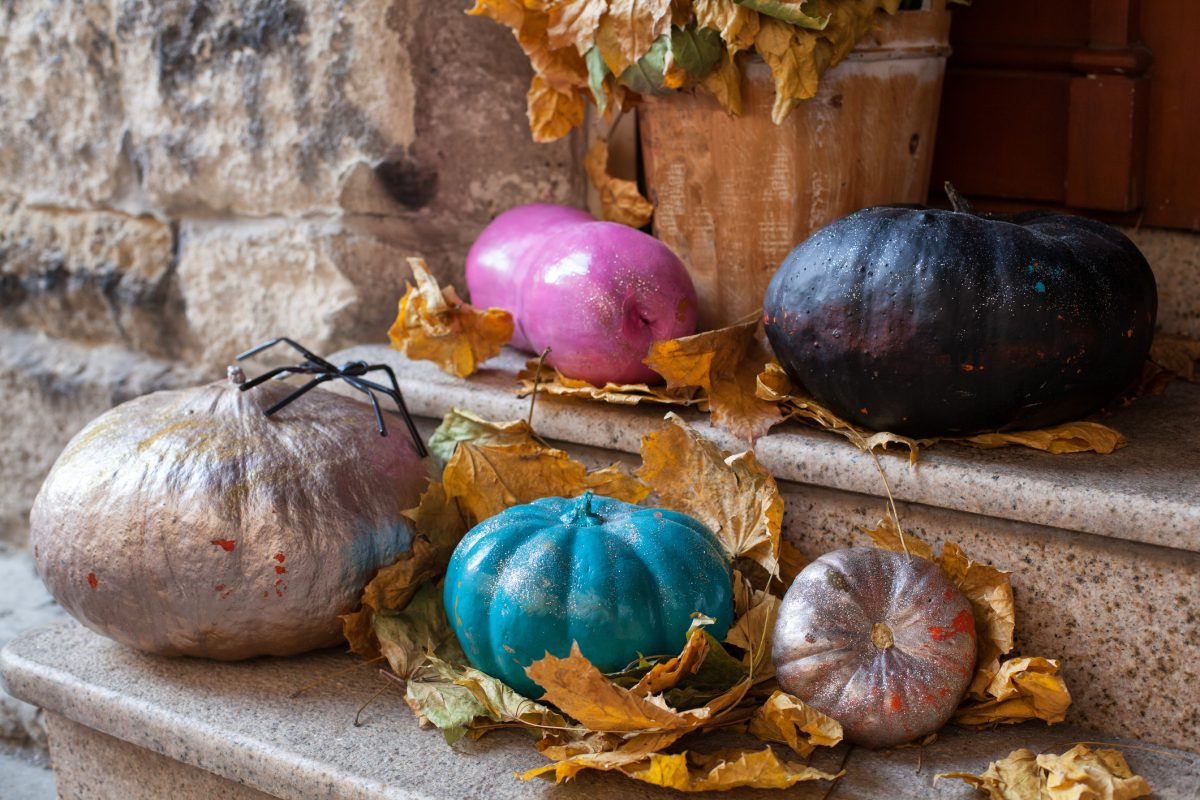 Painted gourds are decorative