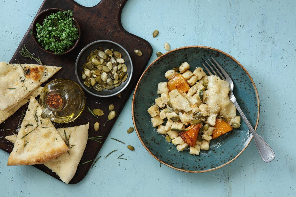 Bread with pumpkin ricotta gnocchi
