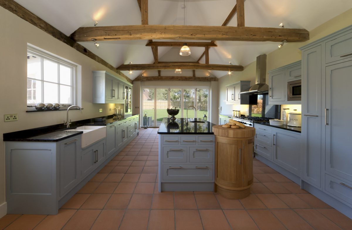 Exposed beams and pendant lighting