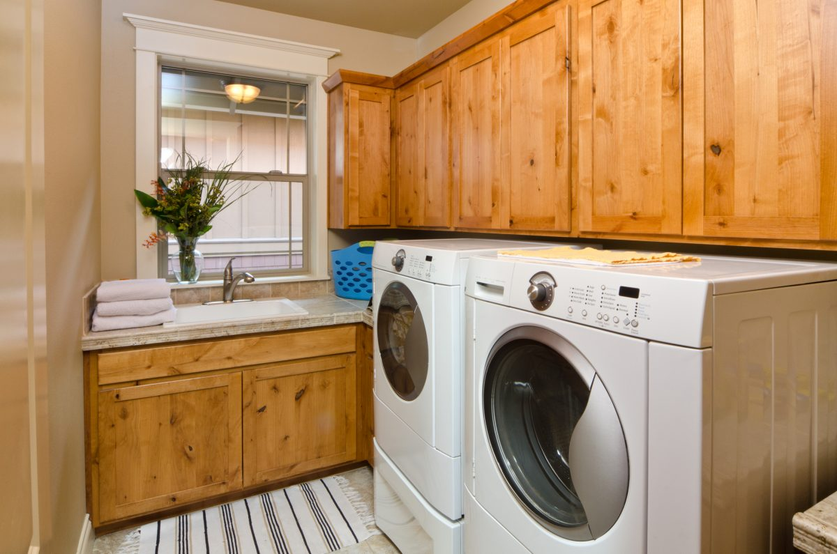 Natural wood laundry room