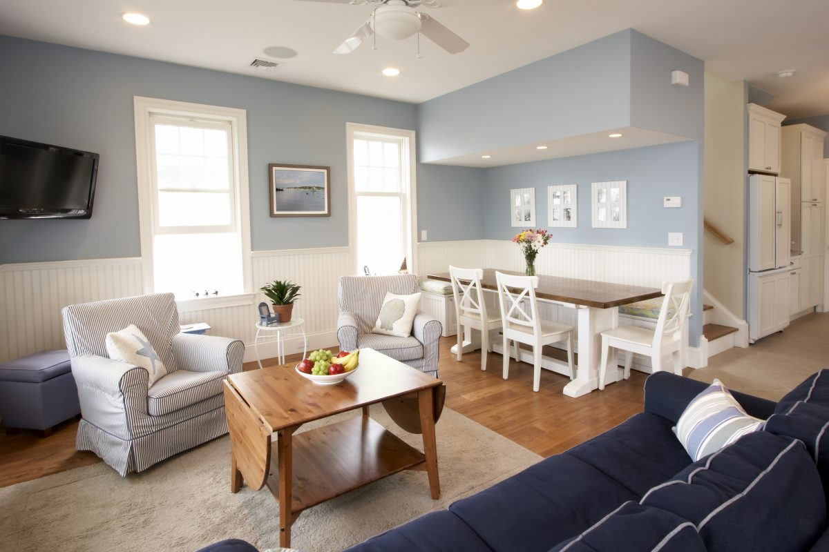 Seaside house with beach-themed furniture