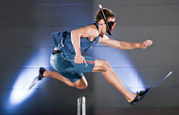 Fastest 100 metre hurdles wearing swim fins (individual, male)