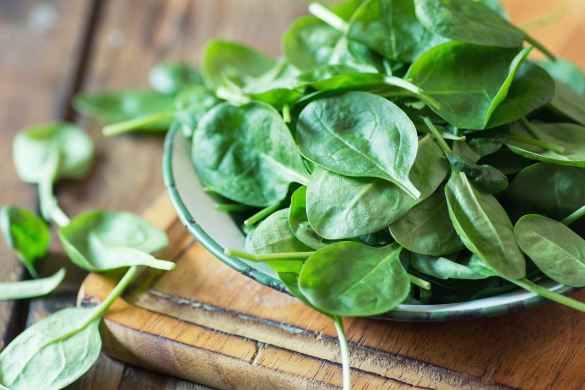 raw spinach bowl