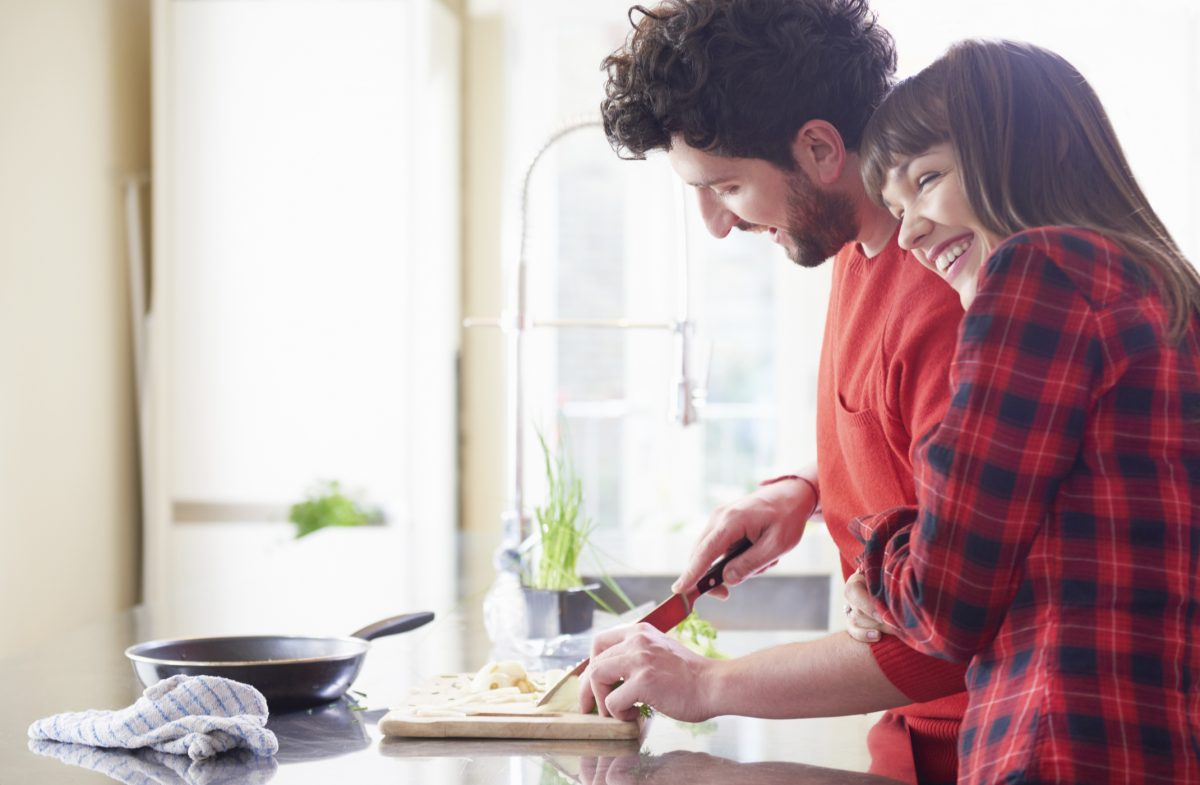 secure attachment couple cooking