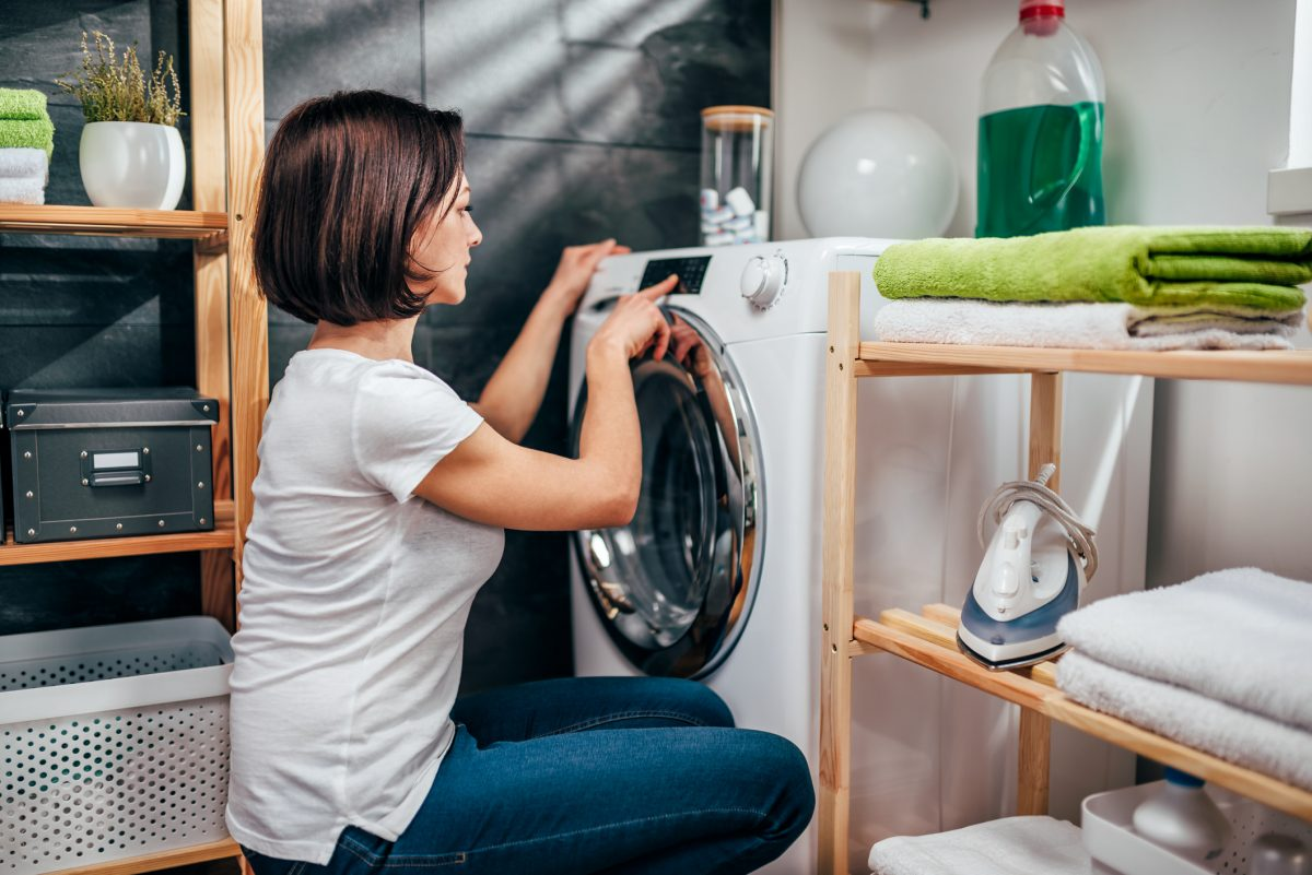 woman washing clothes laundry