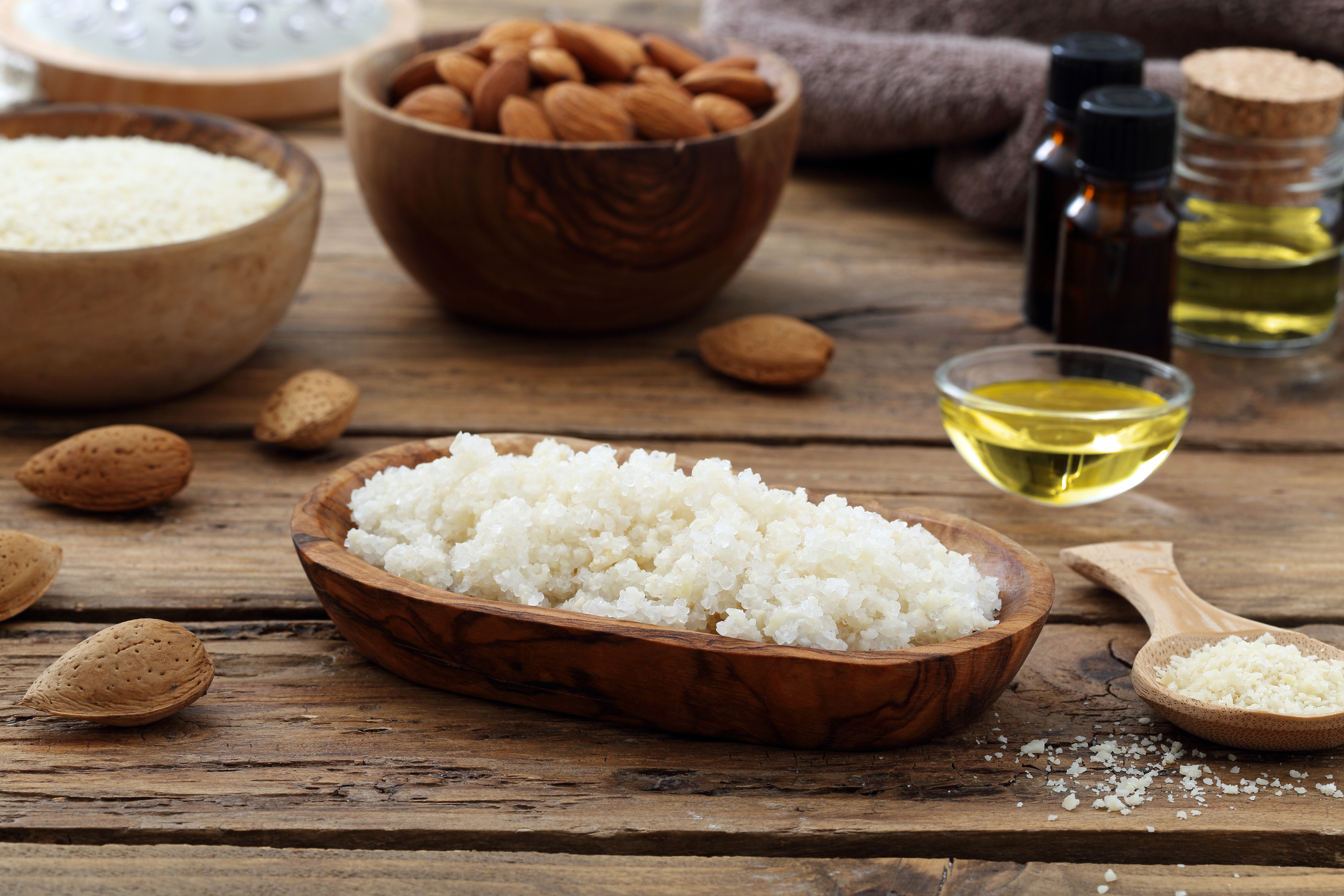 scrub almond products for beauty and body care