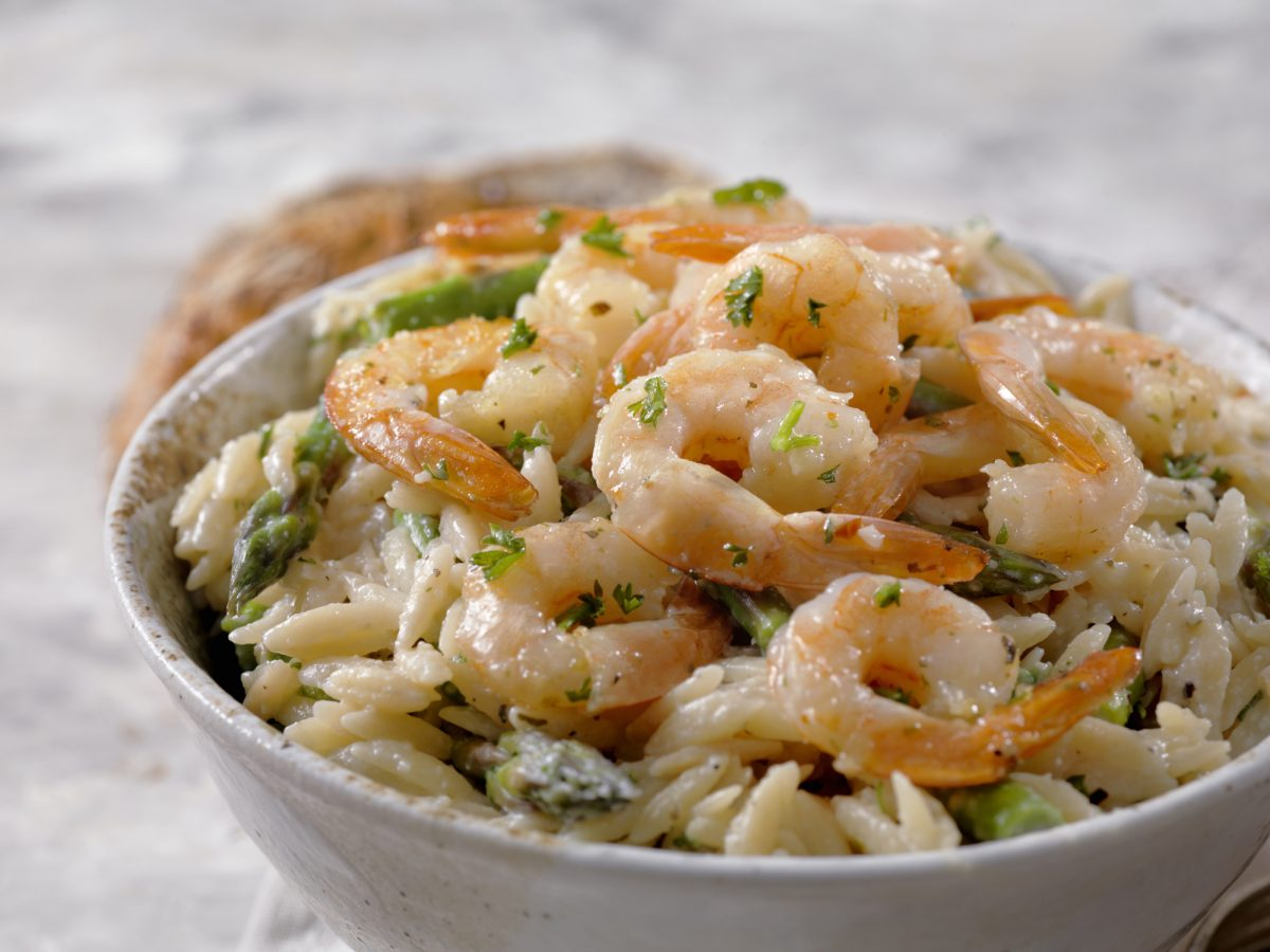 orzo with Parmesan and shrimp